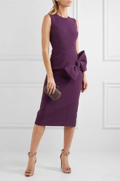 Roksanda - Laurana Bow-embellished Stretch-cady Dress - Dark purple