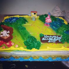 Spongebob Treasure Island Deco! 1/2 sheet cake.