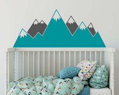 Mountain Wall Decal   Multicolor Nursery Decal, Mountain Decals, Kids Room  Decal, Woodland Nursery, Nursery Wall Decor, Cute Wall Sticker