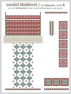 Semne Cusute: iie din nordul MOLDOVEI, Botosani Embroidery Motifs, Cross Stitch Embroidery, Cross Stitch Patterns, Romanian Lace, Simple Cross Stitch, Folk Fashion, Medieval Clothing, Beading Patterns, Traditional