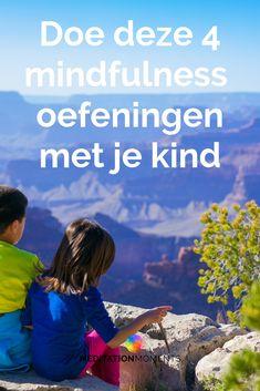 Mindfulness tips voor kinderen. Er wordt nogal wat van kinderen gevraagd en ze moeten dagelijks veel informatie verwerken. Met mindfulness leren ze om even op pauze te drukken. Bekijk de 4 mindfulness oefeningen voor kinderen hier en leer kinderen mindful te kunnen zijn. Het kan spanning en stress verminderen en bijdragen aan beter slapen. #mindfulnesskinderen #mindfulnessoefeningen Yoga For Kids, Diy For Kids, Mindfulness For Kids, Kids Behavior, Health Promotion, Coping Skills, Adolescence, Child Development, Quality Time