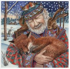 The Storyteller : Yule/Winter Solstice : Cards by Occasion / Recipient : Home : Pagan/spiritual and fairy/fantasy greeting cards, prints and gifts at Moondragon Art Fox, Art Fantaisiste, Art Populaire, Photo D Art, Art Et Illustration, Book Illustrations, Winter Art, Winter Snow, Winter Solstice