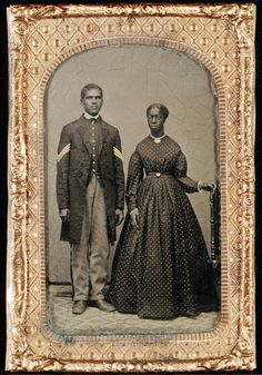 :::::::::: Antique Photograph ::::::::::  Couple - former slaves from Maryland.  He is in a Union Military Uniform.  ca. 1865