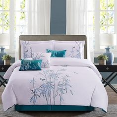 Escape to an exotic getaway with the Panama Jack Bamboo Comforter Set. In tones of lavender and teal, the set offers a lovely bamboo embroidery to your bedding to create a tropical feel. Ensemble includes shams and throw pillows, and bed skirt. Bedroom Comforter Sets, Teal Bedding, Queen Comforter Sets, White Bedding, King Comforter, Duvet, Asian Inspired Bedroom, Bed Cover Design, Home Decor Bedroom