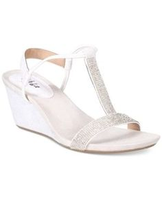 Style & Co Mulan 2 Embellished Evening Wedge Sandals, Only at Macy's  - White/Silver 10.5M