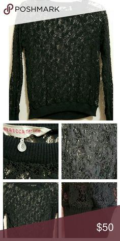 🆕Rebecca Taylor Black Lace Sweater Worn once! Beautiful piece by Rebecca Taylor. I wore a black cami underneath. Ask if you need specific measurements. Rebecca Taylor Sweaters