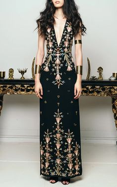Deco Sleeveless Gown by CUCCULELLI SHAHEEN for Preorder on Moda Operandi