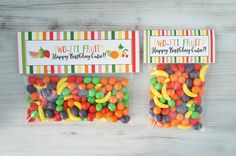 Two-tti Fruity Treat Bag Toppers, Tutti Fruitt Toppers, Fruit Themed Party Favor, Tropical Fruit Treat Topper- SET OF 12 by ConfettiPartyCompany on Etsy