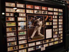 WHAT A COOL IDEA!  Say what you will about him, but BARRY BONDS is without doubt the most exciting slugger to ever step into the batter's box at AT& T Park.  This awesome piece of sports memorabilia features ticket stubs from each game in which Barry Bonds hit a home run in 2001.  (Photo by KebinH).