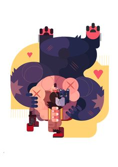 Zangief vs Bear by phuwadon thongnoum, via Behance