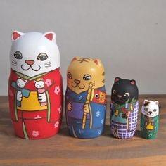 KIMURA & Co. Handmade Matryoshka 'Five Phrases Cat' 【Matryoshka】