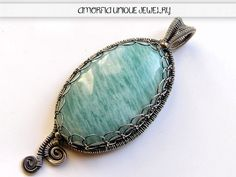 Amazonite  sterling silver  wire wrapped pendant by amorfia