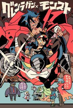 Manga Art, Manga Anime, Anime Art, Gurren Lagann Kamina, Gurren Laggan, One Piece Manga, Character Design References, Cartoon Drawings, Japanese Art