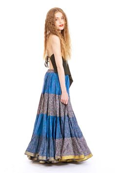 SILK GYPSY SKIRT, blue vintage recycled sari skirt, bellydance boho festival skirt, tribal fusion clothing, 25 yard circle long full skirt