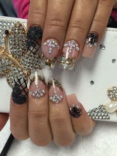 Glitter rhinestone nails