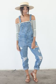 summer outfits Striped Off The Shoulder Top Ripped Denim Overall Long Overalls, Denim Overalls, Dungarees, Shorts, Overalls Women, Jeans Jumpsuit, Denim Jeans, Overalls Fashion, Overalls Outfit