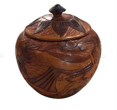 Mid Century Carved Wood Jar