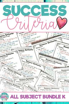Success criteria is an effective tool to help your students understand and successfully complete the exact steps needed to meet their daily learning targets and objectives. Based on the kindergarten Common Core State Standards for all subject areas, these posters can be displayed on a focus wall or bulletin board in your classroom or reduced to a smaller size and used as a checklist by your students to keep track of their progress. Click the link to see what this is all about! #successcriteria
