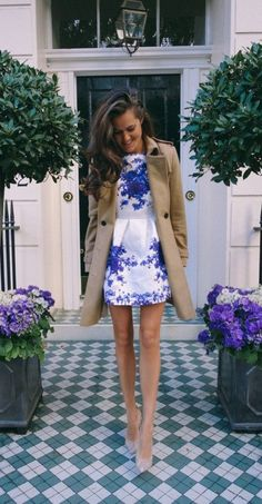 camel coat and floral dress