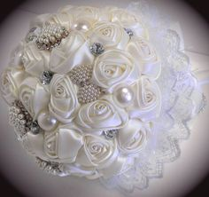 Hey, I found this really awesome Etsy listing at… Wedding Brooch Bouquets, Diy Bouquet, Jewelry Art, Vintage Jewelry, Flower Boquet, Button Bouquet, Bouqets, Satin Flowers, Wedding Preparation
