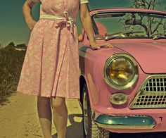 I could sure go for this vintage pink ride :)