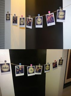 Pictures from day before wedding of bridesmaids, bride.. On one wall and on another wall groom and groomsmen for reception!