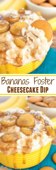 Easy dessert dip spiked with a rum bananas foster sauce! Celebrate Mardi Gras wi… Easy dessert dip spiked with a rum bananas foster sauce! Celebrate Mardi Gras with a Bananas Foster Cheesecake Dip or serve as an adult treat at your next party. Desserts For A Crowd, Party Desserts, Delicious Desserts, Fruit Party, Party Snacks, Fun Fruit, Fruit Dips, Unique Desserts, Party Drinks