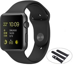 Modern Life Replacement Strap for 42mm Apple Sport iWatches (Black)