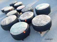 re-puposed tires used for an ottoman or outside seating. will go great with my racing tire vanity! Tire Furniture, Trendy Furniture, Recycled Furniture, Outdoor Furniture, Tire Ottoman, Chair And Ottoman, Ottoman Ideas, Ottoman Cover, Tire Seats