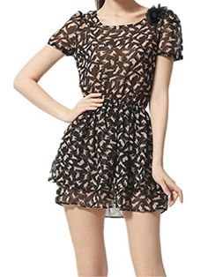 JELLO Women Fashion Casual Flounced Chiffon Dress Short-sleeve Waist Printing Short Dress Black small Jell-O http://www.amazon.com/dp/B00X7CPQO8/ref=cm_sw_r_pi_dp_A0atvb02CT8HX