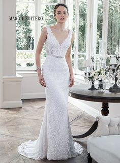 """Maggie Sottero Fall 2015   """"Pierce"""" -- Sleeveless, Lace Column/Sheath Wedding Gown Featuring A V Neckline, Plunging V Back, & Sweep Train"""