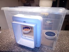 My new selfmade feeding station for my cat, made of a microchip Catflap and a plastic box. My cat loves it.