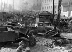 Axis Romanian troops examine the carnage left behind following the Siege of Odessa. Ukraine, Soviet Union. October 1941.