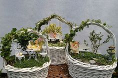 Little worlds created with tiny plants, furniture, and little creatures makes them whimsical and, without a doubt, a lot of fun. Creating a fairy garden in an Easter basket is pretty fun to do all year round!