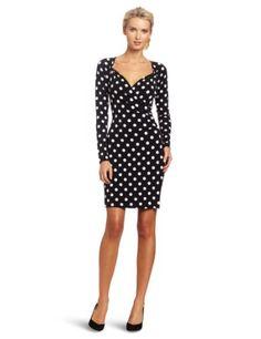 KAMALIKULTURE Women's Long Sleeve Side Draped Dress, Black/White Polka Dot, Medium « Fashion!