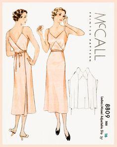1930s 30s vintage lingerie sewing pattern Art Deco wrap dress slip negligee
