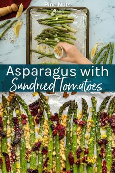 Oven Roasted Asparagus with sun dried tomatoes, pine nuts, and garlic is a delicious Mediterranean-inspired side dish fit for any occasion. Easy and delicious, roasted asparagus is a quick and easy side dish, perfect for Easter or any holiday table. Tomato Side Dishes, Vegetable Side Dishes, Side Dishes Easy, Oven Roasted Asparagus, Asparagus Recipe, Roasted Tomatoes, Paula Deen, Easter Dinner Recipes, Chicken Pasta Recipes