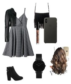 """black 🤙🏿"" by rofaa187 ❤ liked on Polyvore featuring Off-White, Charlotte Russe, Apple, CLUSE and blacksets"