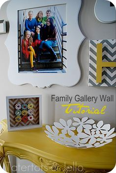 I found the perfect idea for my picture wall behind the couch! Make a Family Gallery Wall in Your Home using Strips! Family Pictures On Wall, Family Wall, Family Room, Tile Murals, Hanging Pictures, Inspiration Wall, Making Ideas, Wall Decor, Wall Art