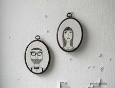 H e and S he CUSTOM Couple Portrait,Personalized Portrait,Embroidery Hoop Art,Hand Embroidered Oval Custom Portrait,Embroidered Wall Art
