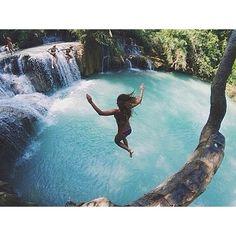 Image via We Heart It #beach #bikini #girl #jump #love #ocean #plant #sea #summer #sun #water