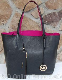 NWT Authentic Michael Kors Izzy Large Leather Reversible Tote Bag ~Black/Fuschia #MichaelKors #TotesShoppers
