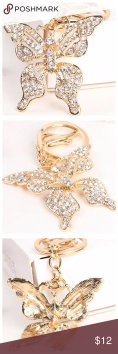Jeweled Butterfly Size: 5.6cm* 5.4cm Material:Alloy, Crystals, Rhinestone. Accessories Key & Card Holders