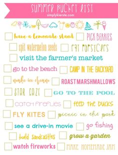Summer Bucket List Printable | simplykierste.com