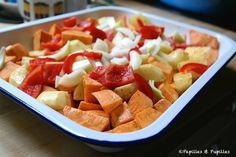 Patates douces et pommes de terre rôties au four