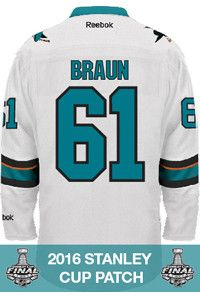 854d62fcc San Jose Sharks Justin Braun Official Away Reebok Replica Adult NHL Stanley  Cup Patch Jersey