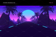 Synthwave Retrowave Background Pack by dennybusyet on @creativemarket