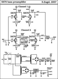 Dc Circuit, Circuit Diagram, Diy Electronics, Electronics Projects, Valve Amplifier, Electronic Schematics, Bass Amps, Dj Equipment, Channel