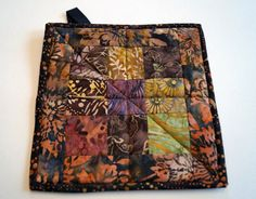 Batik Patchwork Hot Pad in Autumn Colors Quilted by MyBitOfWonder