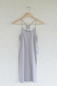 Desert Grey Racer Slip | Modern Bohemian Basic Cotton Thin Strap Slip Dress